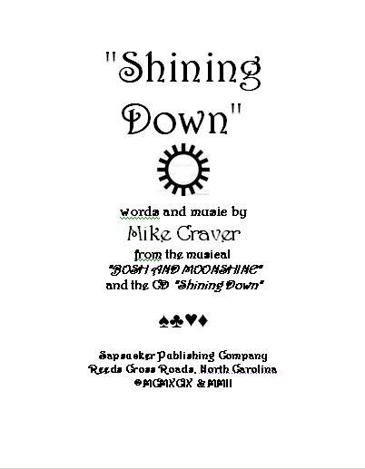 """Mike Craver's  """"Shining Down """" sheet music."""